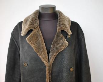 Vintage MADDOX SHEARLING women's parka , real sheepskin parka ....(004)