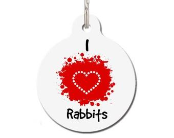 I Love Rabbits Pet ID Tag | FREE Personalization