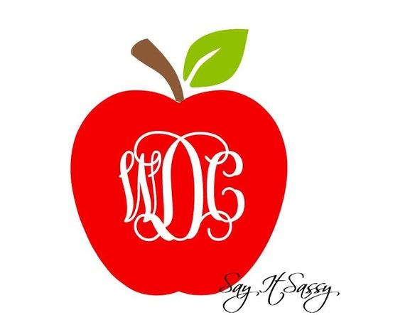 Apple Monogram Decal Apple Vinyl Monogram Decal Laptop