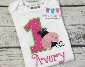 Baby Girl 1st Birthday Outfit - 1st Birthday Ladybug Birthday Outfit - pink and green Lady bug Birthday Outfit