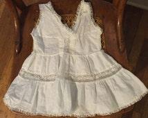 Vintage Mid Century Toddler White Cotton Slip / Sleeveless Dress Excellent Condition / Singing Needles Size 3