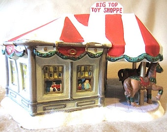 Santa's Workbench Big Top Toy Shop Victorian Series Lighted Porcelain Shop Christmas Village Holiday Display, Festive Fun Cute Decoration