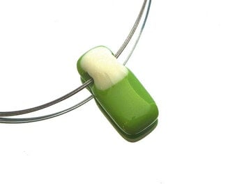 SALE fused glass necklace, white green fused glass pendant, stainless steel beadalon wire, stainless steel finishing, glass pendant, fused