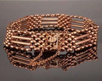 Antique Rose Gold Bracelet, Edwardian Gate Bracelet c1910, 17.7gms