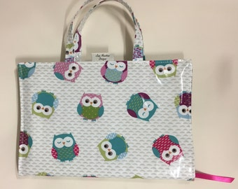 A4 diary book bag cover in owl print oilcloth