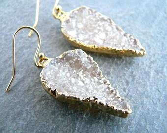 Druzy Crystal Gold Earrings