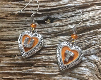 University of Tennessee heart earrings: UT Volunteers orange heart earrings
