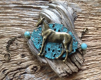 Turquoise and antique gold horse bracelet: patina blue and gold thoroughbred horse bracelet