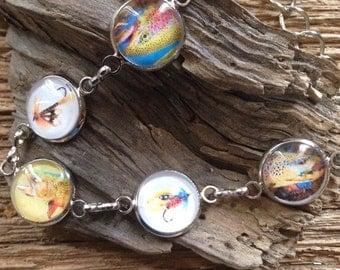 Trout trio with flies bracelet: rainbow trout, brook trout, and brown trout bracelet with flies