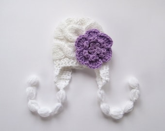 Knit Baby Hat , Baby Girl Beanie Hat , Baby Girl Hat Photo Prop , Newborn Baby Girl Hat