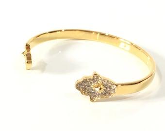 18K gold Hamsa cuff bracelet