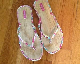 Vera Bradley Wicker bottoms flip flop thong sandals