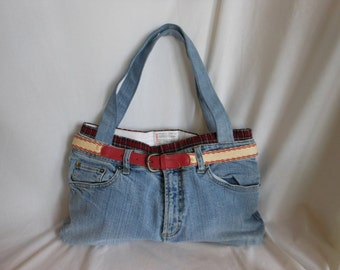 Purse/Tote Made From Recycled Blue Washed Denim And Plaid Boxers