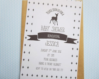 Woodland Deer Baby Shower Invitations x 25/ Monochrome Baby Shower