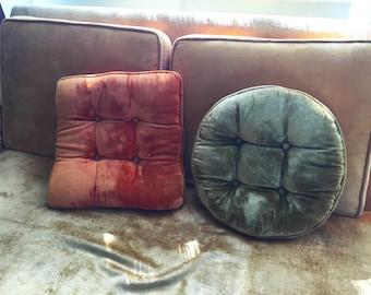 Velvet Pillows (olive green and orange)