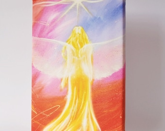 """Canvas wall art print: """"Cosmic light"""" , fine art print on canvas, wall hanging, guardian angel, 8x12 inches, birthday and wedding gift"""