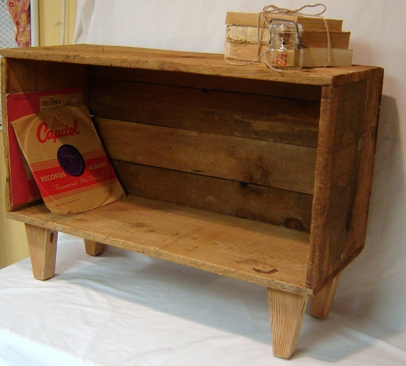 Rustic Record Player Cabinet Crate Wood Table By Bluberrifinds