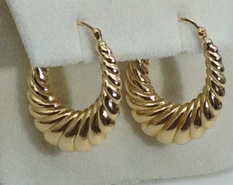 Large 14kt gold hoop earrings