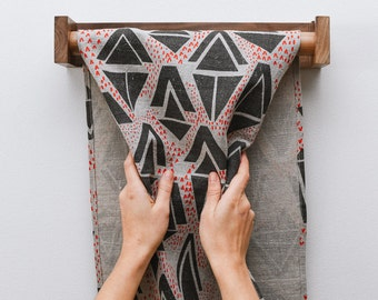 Linen Roller Towel - Screenprinted with Geometric Triangle Pattern -  Grey and Red on 100% Natural Linen with Walnut Wood Holder