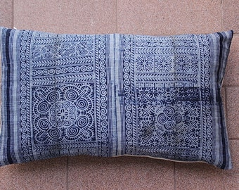 VINTAGE Hand Printed HEMP Organic HMONG Ethnic A Piece Of Tribal Textile Striped White Indigo Blue Nautical Pillow Cover
