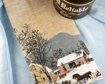 1981 Calendar Towel, Rural Winter Scene, Unused New Old Stock Towel, Vintage Calendar, Rustic, Cabin, Cottage Chic, Dead Stock