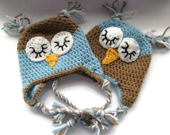 Sleepy Owl Baby Hat with Ear Flaps ~ Baby Boy Hat ~ Newborn/0-3months ~ Hand Crochet Baby Hat ~ New Baby Gift