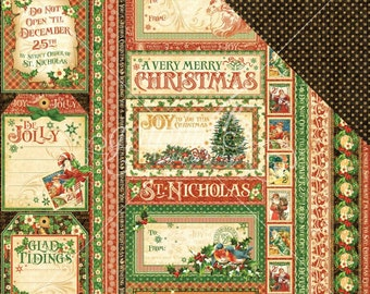 2 Sheets of ST. NICHOLAS Christmas Scrapbook Paper by Graphic 45 - Season's Greetings