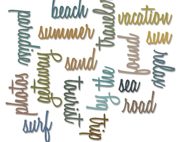 New! Sizzix Tim Holtz Thinlits Die Set 18PK - Vacation Words: Script 661288
