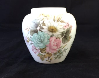 Stuart Fine Bone China Vase, Floral Vase,  Stuart Fine Bone China Ginger Jar No Lid, Blue and Pink Flowers