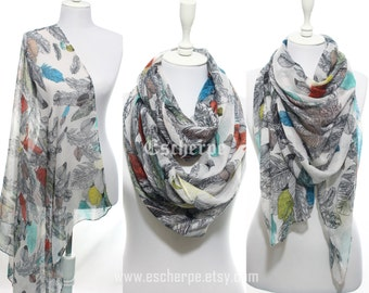 Feather Scarf Bohemian Bird Feather Scarf Woman Winter Accessory Scarves Infinity Scarf Valentine's Day Gifts Ideas For Her For Mom