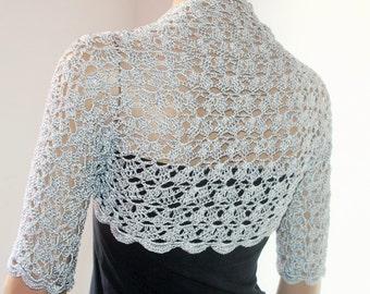Wedding Bridal Bolero Shrug Lace Crochet Shrug Boleros silk vascose gray silver
