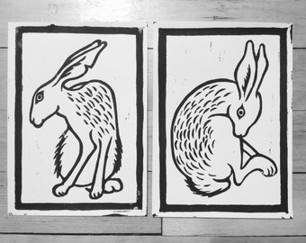 rabbit linocut prints pair
