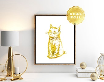 Gold Real Foil Cat Print 4x6 - 5x7 - Gold Cat Art - Cat Lover Gift - Kitten Art Print - Girly Art Print - Cat Decor - Girls Room Decor
