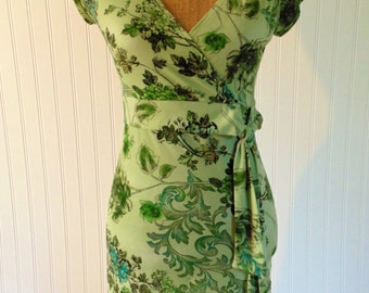 1990's Dress Green Floral Size Small