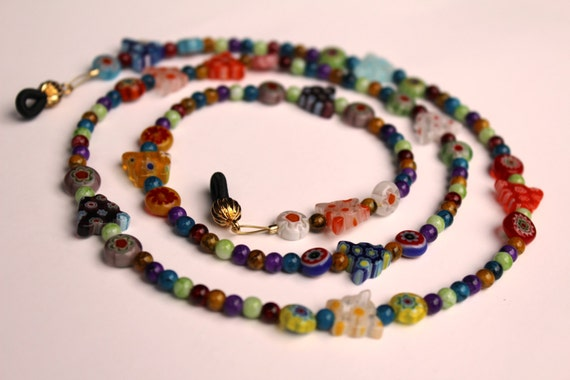 Butterfly Gift, Eyeglasses Chain, Millefiori Chain for Glasses, Rainbow Sunglasses Holder, Butterfly Gift Idea, Multi-Color Reading Glasses