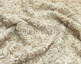 Lush Chiffon in Champagne - Gorgeous Bridal Fabric With Rose Floral Embroidery Throughout - Best for Weddings, Parties, and Events