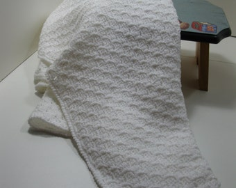 White Crocheted Baby  Afghan READY TO SHIP