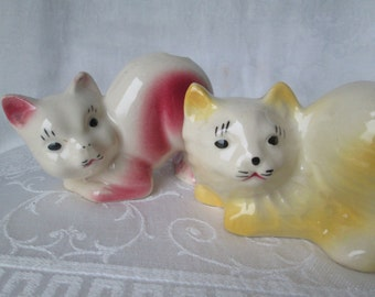 Vintage Cactus Tail Cat Planters, Set of 2 Adorable Kitty Cats