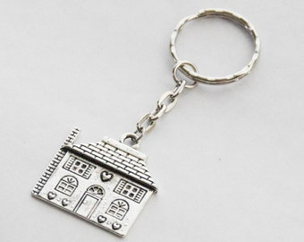 House Keychain Housewarming Gift New House Keychain First House Keyring Personalized Home Key Chain Silver House Keychain New Home Gifts