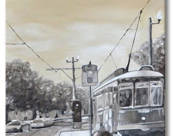 """Street Car in New Orleans Original Painting Oil on Gallery Wrapped Canvas with Staples on the back 14""""x48"""" by Ana Monsanto FREE SHIPPING"""