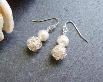 White Swarovski pearl and silver wire pearl earrings, crochet wire earrings, bridal jewelry, sterling silver, surgical steel bridal earrings