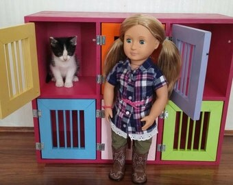 6-hutch pet kennel compatible with American Girl Doll Pets and other stuffed animals
