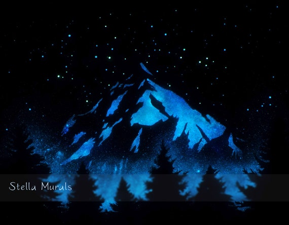 Glow In The Dark Art Poster Of Starry Sky And By Stellamurals