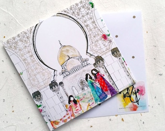Illustrative Eid Ul Fitr Greetings Card - Islamic Holidays - Sheikh Zayed Mosque - Pakistani Street Style - Handmade in UK