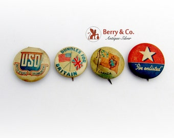 Vintage WWII Period Buttons Pins Set
