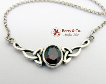 SaLe! sALe! Celtic Motif Garnet Chain Necklace Sterling Silver