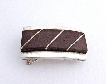 SaLe! sALe! Modernist Belt Buckle Sterling Silver Wood