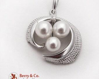 Vintage Elegant Pendant Cultured Pearls Sterling Silver