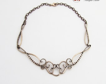 Baroque Style Openwork Necklace Rope Link Chain Sterling Silver