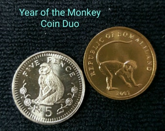 Monkey Coin Duo - Gibraltar Barbary macaque and Somaliland Vervet monkey - year of the Monkey gift - coins for collecting - coins for crafts